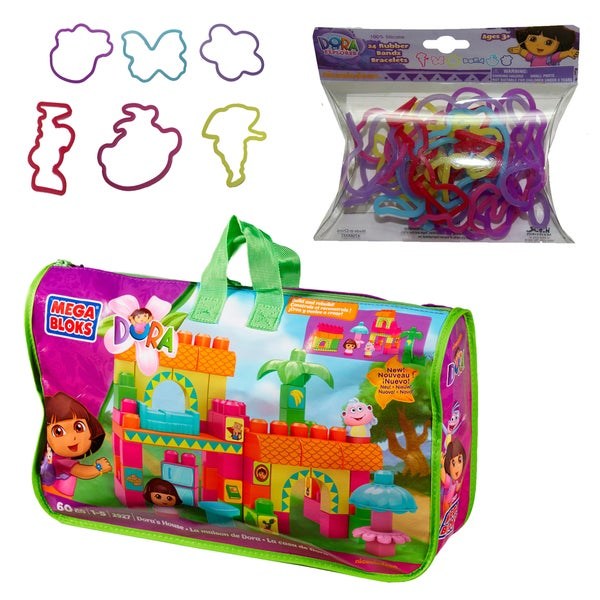 Mega Bloks Dora The Explorer House and SillyBandz Bundle