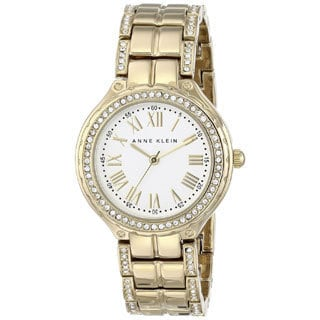 Anne Klein Women's AK-1506SVGB Swarosku Crystal Accented Goldtone Watch