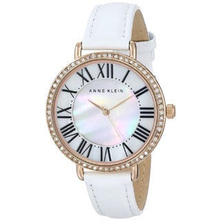 Anne Klein Women's AK-1616RGWT White Leather Mother of Pearl Watch
