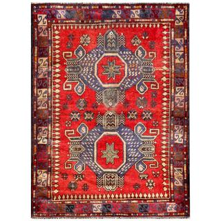 Herat Oriental Semi-antique Afghan Hand-knotted Tribal Balouchi Red/ Navy Wool Rug (3'1 x 4'3)