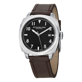 Stuhrling Original Men's Tuskegee Spitfire Swiss Quartz Leather Strap Watch Set