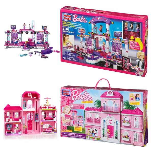 Mega Bloks Barbie Mansion and TV Stage Playset Combo