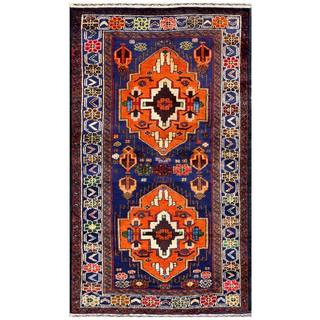 Herat Oriental Semi-antique Afghan Hand-knotted Tribal Balouchi Coral/ Navy Wool Rug (2'7 x 4'6)