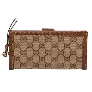 Gucci GG Beige/ Tan Canvas Continental Wallet