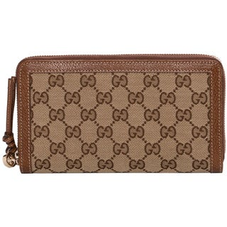 Gucci Bree Original GG Beige/ Tan Canvas Zip Around Wallet