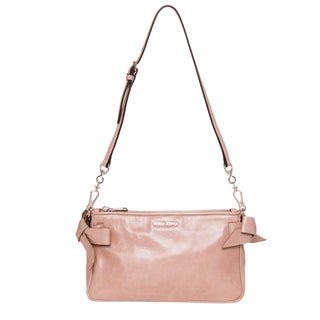 Miu Miu Vitello Lux Blush Bow Shoulder Bag