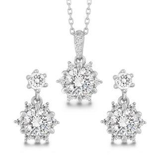 La Preciosa Sterling Silver Cubic Zirconia Pendant and Earrings Set