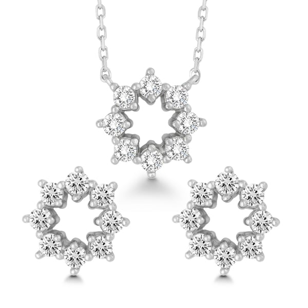 La Preciosa Sterling Silver Cubic Zirconia Open Flower Earrings and Pendant Set