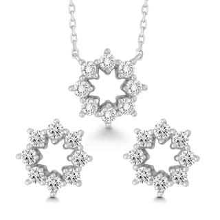 La Preciosa Sterling Silver Cubic Zirconia Open Flower Earrings and Pendant Set