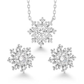 La Preciosa Sterling Silver Cubic Zirconia Snowflake Earrings and Pendant Set