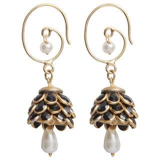 Sitara Black Floral Cluster Drop Earrings (India)