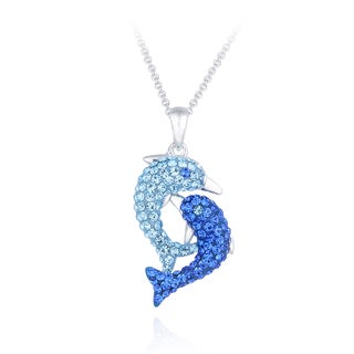 Crystal Ice Silvertone Crystal Double Dolphin Necklace with Swarovski Elements