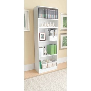 White Laminate Straight Edge 5-shelf Bookcase