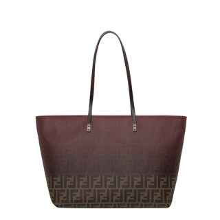 Fendi Two-tone Dark Purple/ Tobacco Zucca Roll Tote Bag