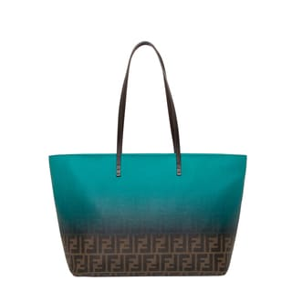Fendi Two-tone Teal/ Tobacco Zucca Roll Tote Bag