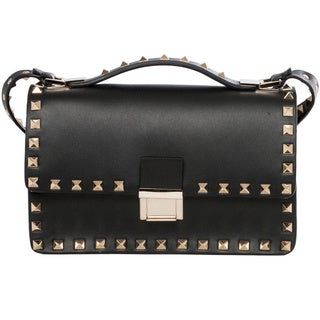 Valentino Rockstud Black Flap Cross-body Bag