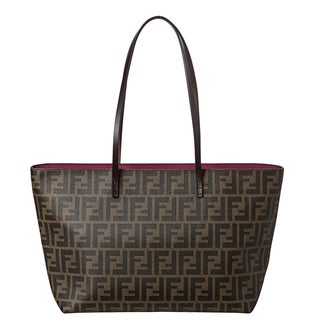 Fendi Small Zucca Tobacco/ Purple Tote Bag