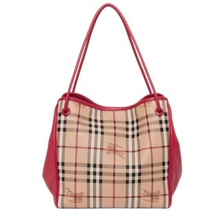 Burberry Small Haymarket Beige/ Pink Check Tote Bag