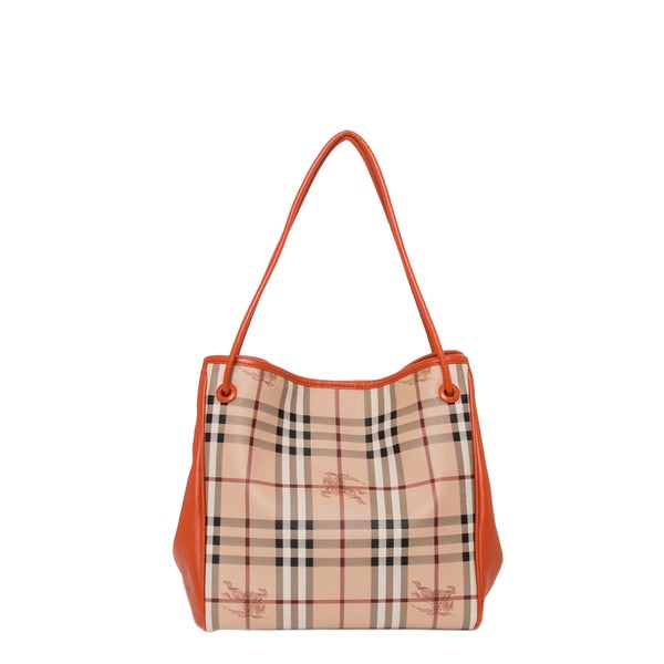 Burberry Small Beige/ Orange Haymarket Check Tote Bag