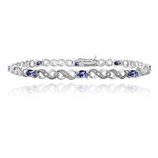 Glitzy Rocks Sterling Silver 1 4/5ct TGW Tanzanite and Diamond Accent Infinity Bracelet