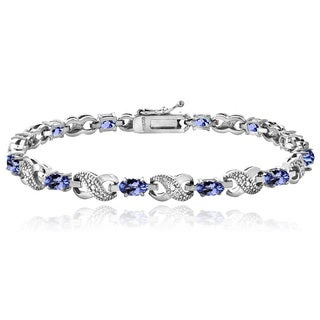 Glitzy Rocks Sterling Silver 2 2/5ct Tanzanite and Diamond Accent Infinity Bracelet