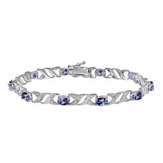 Glitzy Rocks Sterling Silver 5ct TGW Tanzanite and Diamond Accent X and Oval Pattern Bracelet