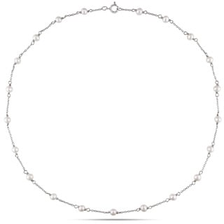 Miadora 10k White Gold White Cultured Freshwater Pearl Children's Necklace (3-4 mm)