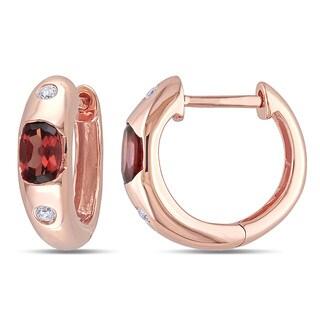 Miadora 10k Rose Gold Garnet and Diamond Accent endless Earrings