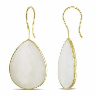 Miadora 22k Yellow Gold Plated Silver 35ct TGW White Quartz Dangle Earrings