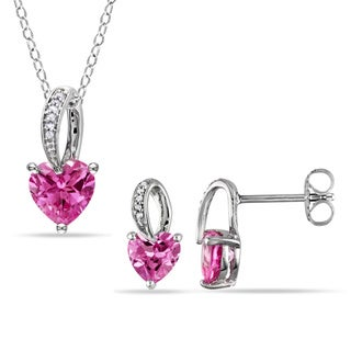 Miadora Sterling Silver Created Pink Spphire and Diamond Accent Heart Necklace and Earrings Set