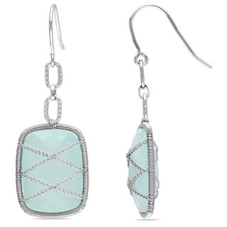 Miadora Sterling Silver 18ct TGW Aqua Chalcedony Drop Earrings