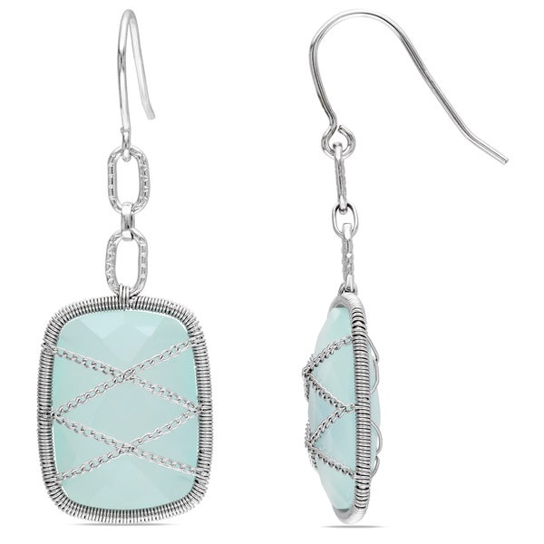 Miadora Sterling Silver 18ct TGW Aqua Chalcedony Drop Earrings