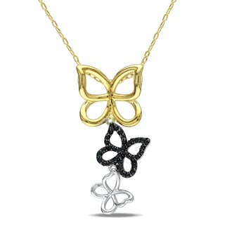 Miadora Two-tone Silver 1/5ct TDW Black Diamond Butterfly Necklace