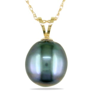Miadora 14k Yellow Gold Tahitian Pearl Necklace (9-10 mm)