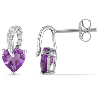 Miadora 10k White Gold 1 1/10ct TGW Amethyst and Diamond Accent Heart Earrings
