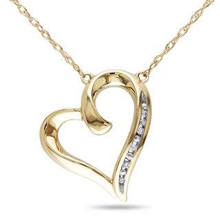 Miadora 10k Yellow Gold Diamond Accent Heart Necklace