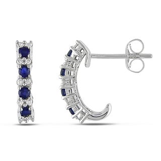 Miadora 10k White Gold Sapphire and 1/6ct TDW Diamond Earrings (H-I, I2-I3)