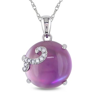 Miadora 10k White Gold Amethyst and Created Opal with Diamond Accent Necklace