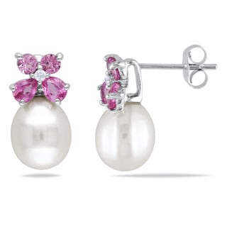 Miadora 10k White Gold White Cultured Freshwater Pearl 1 1/5ct TGW Pink Sapphire and Diamond Accent Earrings (8-8.5 mm)