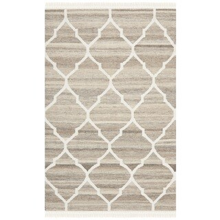 Safavieh Hand-Woven Natural Kilim Light Grey/ Ivory Wool Rug (2' x 3')