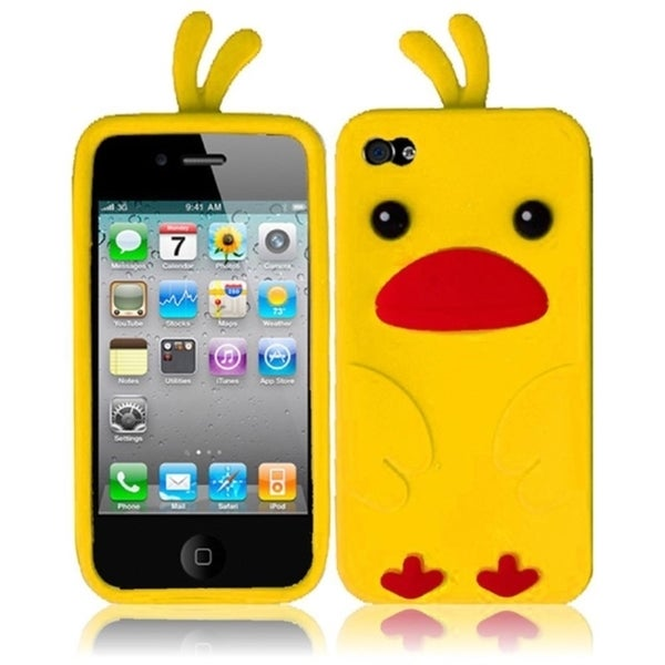 INSTEN Yellow Duck 3D Rubber Soft Silicone Soft Skin Gel Phone Case Cover for Apple iPhone 4/ 4S