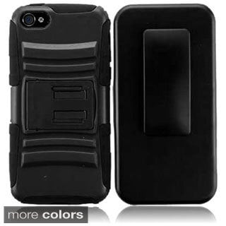 INSTEN Black/ Hot Pink Advanced Armor Hybrid Stand PC/ Soft Silicone Holster with Phone Case Cover for Apple iPhone 4/ 4S