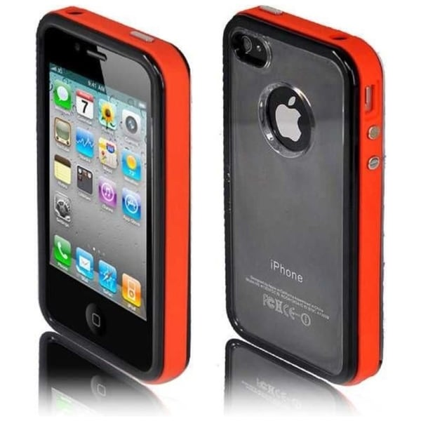 INSTEN Clear/ Red PC/ TPU Rubber Phone Case Cover for Apple iPhone 4/ 4S