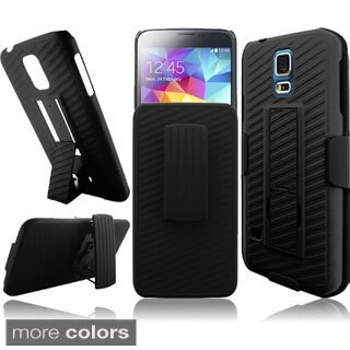 BasAcc With Kickstand Holster Rugged Dual Hybrid Case for Samsung Galaxy S5