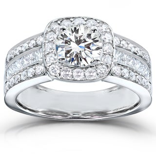 Annello 14k White Gold 2ct TDW Round-cut Diamond Halo Engagement Ring (G-H, I1-I2)