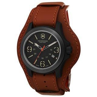 Swiss Army Men's V241593 'Original' Grey Dial Brown Leather Strap Swiss Quartz Watch