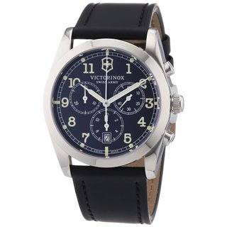 Victorinox Swiss Army Men's 241588 Black Leather Chronograph Watch