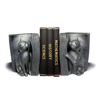 Cats Playing with Book- Black Bookend Set