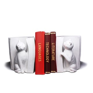 Cats Playing with Book- White Bookend Set