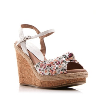 Nvy Women's Floral Print Open-toe Cork Wedges